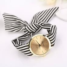 Vrouwen mode gestreepte stof riem quartz horloge (zwart)