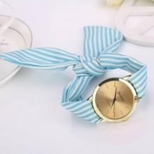 Vrouwen mode gestreepte stof riem quartz horloge (baby blauw)