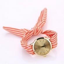 Vrouwen mode gestreepte stof riem quartz horloge (oranje)