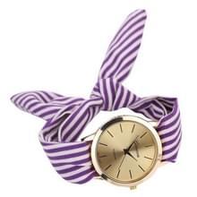 Vrouwen mode gestreepte stof riem quartz horloge (paars)