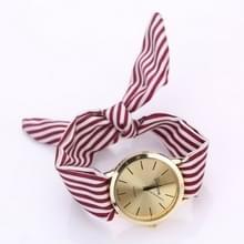 Vrouwen mode gestreepte stof riem quartz horloge (rood)