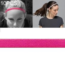 10 PCS Elastic Rope Candy Color Sports Yoga Hair Band Sweat Band (Rose Red)