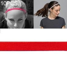 10 PCS Elastic Rope Candy Color Sports Yoga Hair Band Hoofdband Sweat Band (Scarlet)