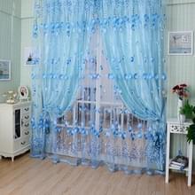 Tulip print gordijn slaapkamer woonkamer balkon Tulle zonnescherm gordijn  grootte: 100x200CM met kraal (blauw)