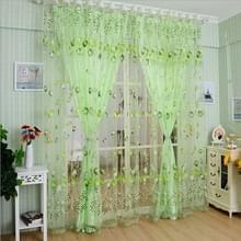 Tulip print gordijn slaapkamer woonkamer balkon Tulle zonnescherm gordijn  grootte: 100x200CM met kraal (groen)