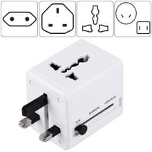 World-Wide Universal Travel Concealable Plugs Adapter with & Built-in Dual USB Ports Charger for US  UK  AU  EU(White)