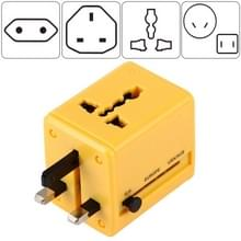 World-Wide Universal Travel Concealable Plugs Adapter with & Built-in Dual USB Ports Charger for US  UK  AU  EU(Yellow)