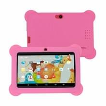 Q88 Kids Education Tablet PC  7.0 inch  1GB+8GB  Android 4.4 Allwinner A33 Quad Core  WiFi  Bluetooth  OTG  FM  Dual Camera  met siliconen hoesje (roze)