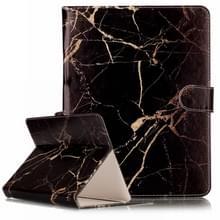 Universeel 7 inch horizontaal Zwart & goudkleurig marmer patroon PU leren Flip Tablet Hoesje met houder en opbergruimte voor pinpassen & geld