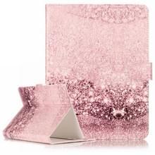 Universeel 8 inch Tablet Roze en goudkleurig patroon PU leren Hoesje met houder en opbergruimte voor pinpassen & geld (bruin)