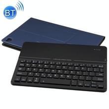 Afneembare magnetische Bluetooth toetsenbord ultradun gehard glas spiegel leergeval voor Huawei MediaPad M5 10 8 inch  met houder (donkerblauw)