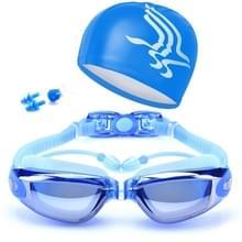 High-Definition waterdichte mist bestendige zwembrillen met badmuts (blauw)