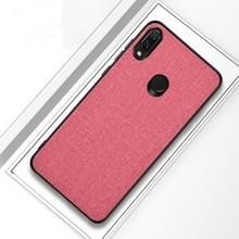 Schokbestendige doek textuur PC + TPU beschermhoes voor Xiaomi Redmi opmerking 7 (roze)