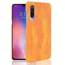 Hout textuur PC + PU Protevtive Case voor Xiaomi mi 9 (geel)