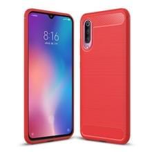 Geborsteld textuur Carbon Fiber schokbestendig TPU Case voor Xiaomi mi 9 (rood)