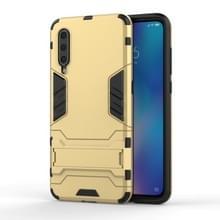 Schokbestendige PC + TPU Case voor Xiaomi mi 9  met houder (goud)