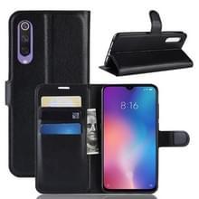 Litchi textuur horizontale Flip lederen draagtas voor Xiaomi Mi9 SE  met portemonnee & houder & kaartsleuven (zwart)