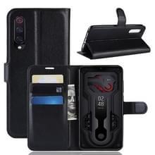 Litchi textuur horizontale Flip lederen draagtas voor Xiaomi Mi9  met portemonnee & houder & kaartsleuven (zwart)