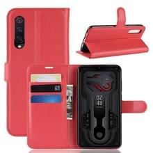 Litchi textuur horizontale Flip lederen draagtas voor Xiaomi Mi9  met portemonnee & houder & kaartsleuven (rood)