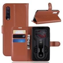 Litchi textuur horizontale Flip lederen draagtas voor Xiaomi Mi9  met portemonnee & houder & kaartsleuven (bruin)
