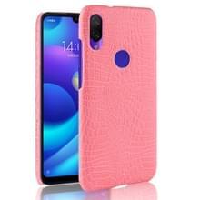 Schokbestendige krokodil textuur PC + PU Case voor Xiaomi Redmi Note 7 (roze)