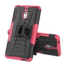 Band textuur TPU + PC schokbestendige telefoon geval voor Nokia 2 1  met houder (roze)