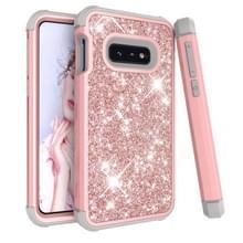 Glitter contrast kleur silicone + PC schokbestendige geval voor Galaxy S10e