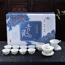 11 in 1 Kung Fu thee complete set blauw en wit porselein cups keramische cover Bowl reizen Teaware set met 8 theekopjes (gouden draak)
