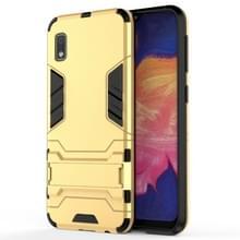 Schokbestendige PC + TPU Case voor Galaxy A10e  met houder (goud)