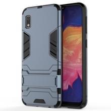 Schokbestendige PC + TPU Case voor Galaxy A10e  met houder (marineblauw)