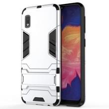 Schokbestendige PC + TPU Case voor Galaxy A10e  met houder (zilver)
