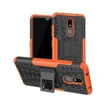 Tire Texture TPU + PC schokbestendig geval voor Nokia 4 2  met houder (Orange)
