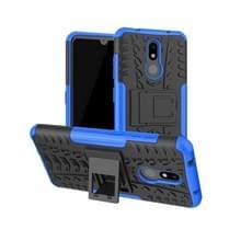 Tire Texture TPU + PC schokbestendig geval voor Nokia 4 2  met houder (blauw)