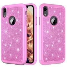 Glitter poeder contrast huid schokbestendig silicone + PC beschermende case voor iPhone XR (roze)