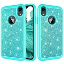 Glitter poeder contrast huid schokbestendig silicone + PC beschermende case voor iPhone XR (groen)