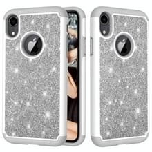 Glitter poeder contrast huid schokbestendig silicone + PC beschermende case voor iPhone XR (grijs)