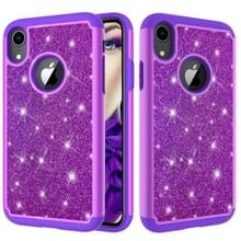 Glitter poeder contrast huid schokbestendig silicone + PC beschermende case voor iPhone XR (paars)