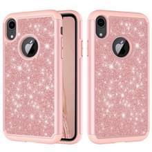 Glitter poeder contrast huid schokbestendig silicone + PC beschermende case voor iPhone XR (Rose Gold)