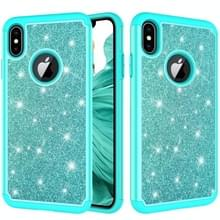 Glitter poeder contrast huid schokbestendig silicone + PC beschermende case voor iPhone XS Max (groen)