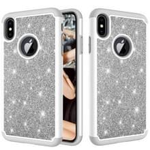 Glitter poeder contrast huid schokbestendig silicone + PC beschermende case voor iPhone XS Max (grijs)