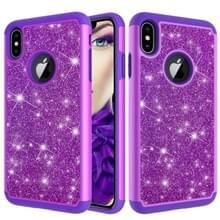 Glitter poeder contrast huid schokbestendig silicone + PC beschermende case voor iPhone XS Max (paars)