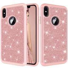 Glitter poeder contrast huid schokbestendig silicone + PC beschermende case voor iPhone XS Max (Rose goud)