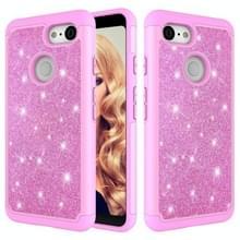 Glitter poeder contrast huid schokbestendig silicone + PC beschermende case voor Google pixel 3 (roze)