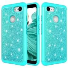 Glitter poeder contrast huid schokbestendig silicone + PC beschermende case voor Google pixel 3 (groen)