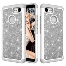 Glitter poeder contrast huid schokbestendig silicone + PC beschermende case voor Google pixel 3 (grijs)