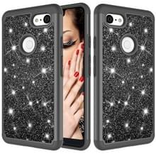 Glitter poeder contrast huid schokbestendig silicone + PC beschermende case voor Google pixel 3 XL (zwart)