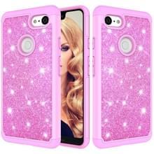 Glitter poeder contrast huid schokbestendig silicone + PC beschermende case voor Google pixel 3 XL (roze)
