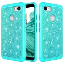 Glitter poeder contrast huid schokbestendig silicone + PC beschermende case voor Google pixel 3 XL (groen)