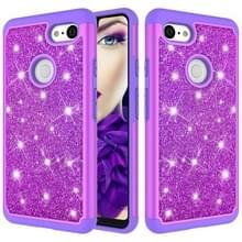 Glitter poeder contrast huid schokbestendig silicone + PC beschermende case voor Google pixel 3 XL (paars)