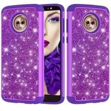 Glitter poeder contrast huid schokbestendig silicone + PC beschermende case voor Motorola Moto G6 (paars)